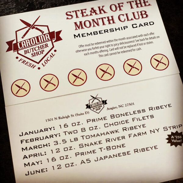 Steak of the Month Club Card